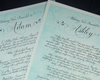 Wedding Vows in Calligraphy and custom art.