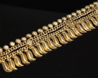 "Gold Sterling Bracelet Size 7.5"" Long"