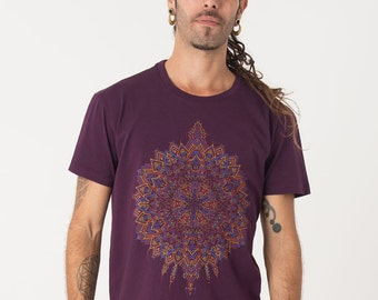 Mens T shirt Psychedelic Shirt Screen Printed Tee Festival Wear Burning Man Clothing Tribal Psy Trance Goa Style