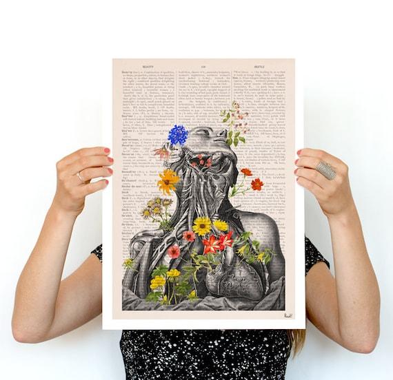 Springtime on me, white art Human anatomy print-Chic Science prints art, Human anatomy and flowers art SKA101PA3