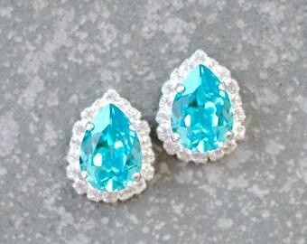 Turquoise Earrings Swarovski Crystal Light Turquoise Blue Bridal Wedding Diamond Rhinestone Drop Stud Duchess Pear Halo Earrings Mashugana
