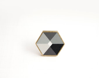 Minimalist ceramic brooch, Nero No.4, Geometric Ceramic Brooch, Honeycomb jewelry, gift for her, Honeycomb brooch, Geometric Brooch,