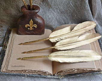 Gold Feather Quill Pen, GOLD Feather pens, Wedding pen, Gold Feather Quill dip Pen, Calligraphy, Calligraphy nib pen