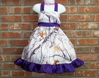 CAMO Flower Girl Dress / Snow Camo + Purple / Halter / Satin / Wedding / Bridesmaid / Pageant / Infant / Baby / Girl / Toddler / Boutique