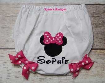 Minnie Mouse Diaper Cover / Pink / Black / Bloomer / Princess / Disney Vacation / Mickey / Birthday / Cake Smash / Custom Boutique Clothing