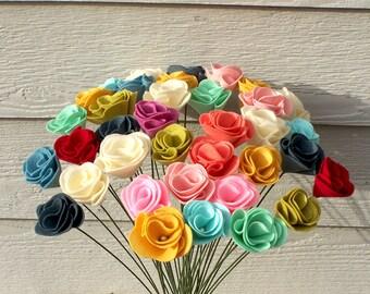 Wool Felt Flowers -Felt Roses -Felt Flowers -Felt Garden -Felt Floral Decor -Felt Wedding