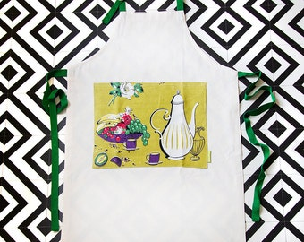 SALE Mid Century Apron, Vintage coffee pot pinny, Chef's Kitchen cooking apron, Upcycled teatowel 50s 60s pocket coffee lovers gift box ECO