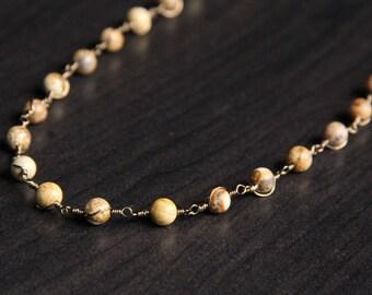 Jasper Necklace, Wire Wrapped Stone Jewelry, Boho Necklace, Layering Necklace, Jasper Jewelry