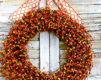Orange Berry Wreath - Fall Door Wreath - Fall Berry Wreath