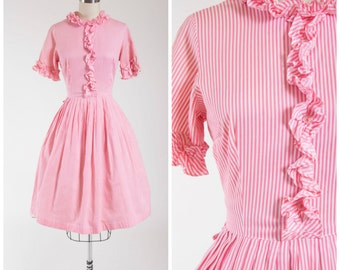 Vintage 50s Dress • Sweet Taffy • Striped Pink Cotton 1950s Day Dress Size Small
