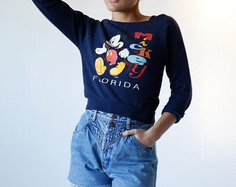 Vintage 90s Mickey Mouse Sweatshirt size Extra Small made in USA - B3