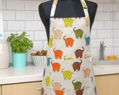 Kids apron with Elephants, Kitchen apron, Linen apron with pocket, apron for a young cook, Christmas gift for children for Kids