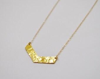 Hammered Gold Chevron Necklace, 14kt Gold Fill, V Necklace, Gold V Necklace, Hammered Metal Necklace