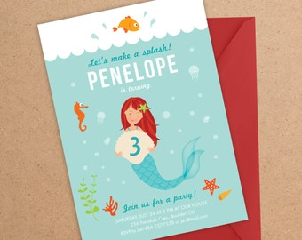 Mermaid Invitation, Mermaid, Under the Sea Party, Mermaid Party, Birthday Invitation, Mermaid Birthday, Under the Sea Invitation, Girl Party