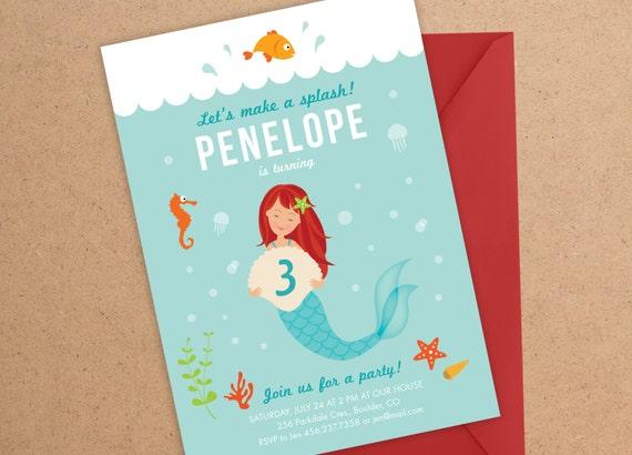 Mermaid Invitation, Mermaid, Under the Sea Party, Mermaid Party, Birthday Invitation, Mermaid Birthday, Under the Sea Invitation, Girl Party