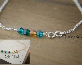 Silver or Gold Infinity Bracelet | Family Personalized Birthstones | Sideways Infinity Bracelet