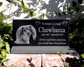 Pet Grave Marker Pet Memorial Granite Head Stone & *Base Stand* Customized with YOUR Pets Photo Outdoor/Indoor Stand
