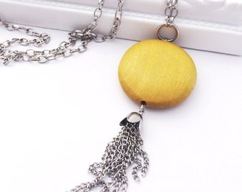 Tassel Necklace - Mustard Yellow Necklace with Tassel - Long Pendant Necklace - Wood Necklace - Affordable Jewelry