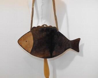Vintage novelty fish shoulder handbag bag leather and pony skin hair brown handmade