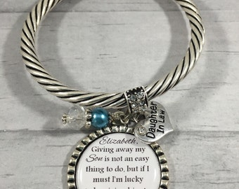 Daughter in Law GIFT, BRIDE to Be BRACELET, Silver Jewelry, Rehearsal Dinner, Bridal Shower Gift, Something Blue, Gift from Mother In Law