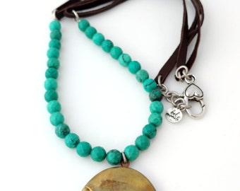Leather Necklace, Turquoise Jewelry, Southwestern Jewelry, Minimalist Jewelry, Boho Jewelry, Cottage Chic, Locket Necklace, Leather Jewelry