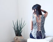 Backless top, Boho Shirt, Feathers Print Shirt, Open back top, Summer top, Festival Clothing