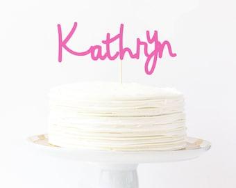 Name Cake Topper Pink Birthday Cake Topper Girl Cake Decorations Girl Baby Shower Cake Topper Pink Party Supplies Custom Smash Cake Topper