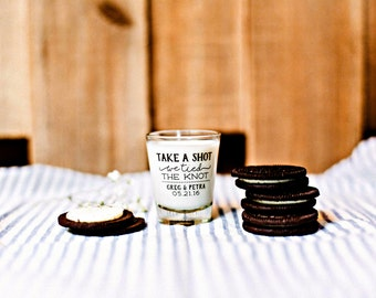 Take a Shot, Shot Glass, Wedding Favors, We Tied the Knot Shot Glass, Wedding Night Snack Gift, Late Night Snack, Custom Shot Glass, 1446