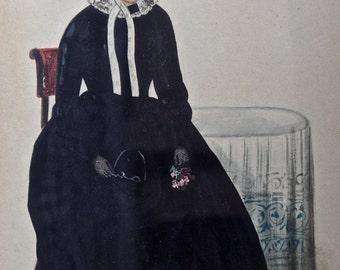 19thC fine art full bodied Portrait miniature with Provenance of woman, antique miniature Mourning Portrait, Antique Folk Portrait