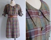 Vintage 80's Penny Plaid Button Front Collar Dress with Tie Sleeves S or M