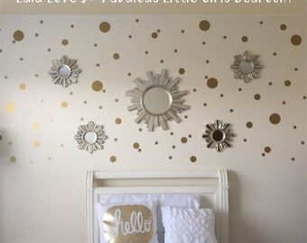 Gold Dot Decals | Polka Dot Wall Decal | Gold Vinyl Dots | Gold Nursery Decor | White and Gold Decor | Girls Bedroom Decor
