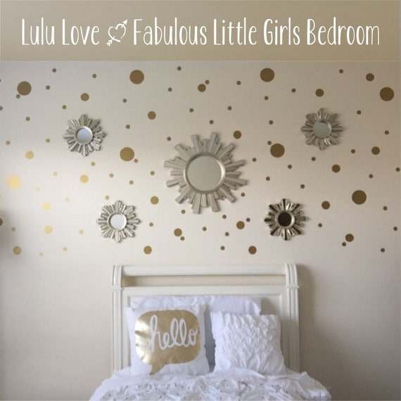 gold dot decals polka dot wall decal gold vinyl dots. Black Bedroom Furniture Sets. Home Design Ideas
