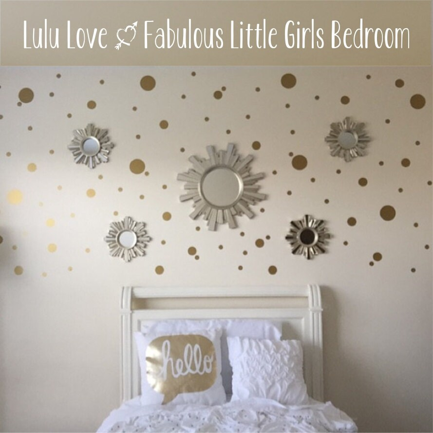 Gold dot decals polka dot wall decal gold vinyl dots for How to make polka dots on wall