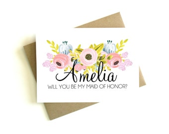 Personalized Maid of Honor Card - Will You Be My Maid of Honor, Maid of Honor Gift, Maid of Honor Proposal, Be My Maid of Honor Card