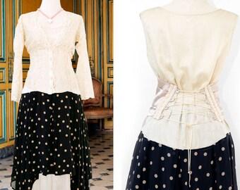 Gown Evening Dress Polka dots Silk Long Layered Dress Lace up Corset Blue Cream Petticoat Red Carpet Sleeveless Maxi Sheer Gray Victorian