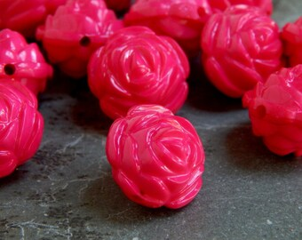 17X15mm Dark Pink Acrylic Vintage Style Rose Beads, 12 PC (INDOC223)