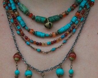 Ethnic Boho Multistrand Turquoise and Carnelian Necklace