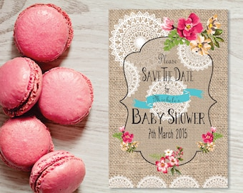 Baby shower save the date card, 6 x 4 burlap and lace save the date card, fully customizable