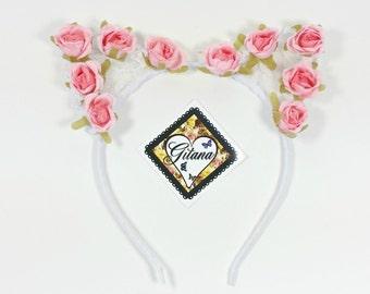 Cat Headband-Kitty Headband-Lolita-Lolita Headband-Lolita Cat Ears-Flower Crown-Harajuku-Hime-Fairy Kei-Gift For her- Flower headband