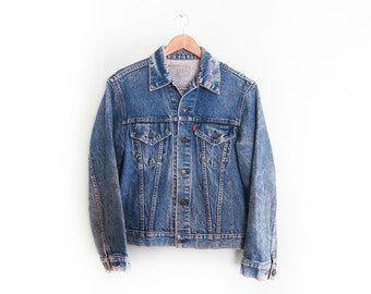 vintage levis denim / denim jacket / grunge / 1970s Levis type III denim jacket Medium