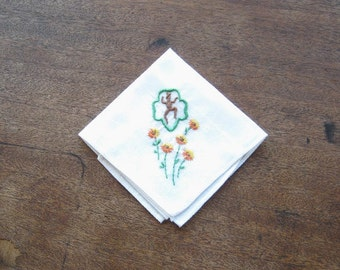 1950s Brownie Scout Hankie with Trefoil Insignia~Embroidered Brownie Symbol Girl Gift Hankie; Free Shipping/U.S.