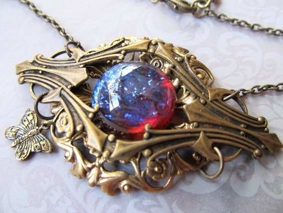 Dragons Breath Opal Necklace Game of Thrones Jewelry Mexican Fire Opal Necklace Fire Opal Necklace Fantasy Jewelry- Dragons Lair