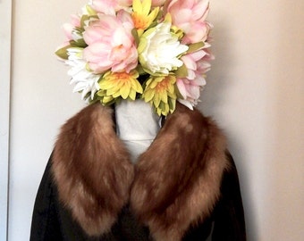 Vintage Fur Collar - 50s/60s Soft Brown Glamorous Coat Accessory
