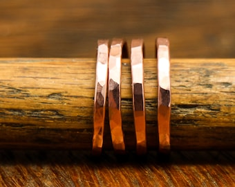 Band Ring Copper Wire Forged and Hammered Finish Stacking Ring Recycled Material Rustic Minimalist Men or Women Listing Is For One Ring#R106