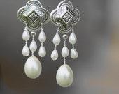 Moorish style Bridal Earrings, Chandelier Pearl Earrings,Rain,  Chandelier,Drop , Weddings jewelry, Art Nouveau , Boho, Tribal earrings,