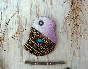 Pottery Bird Wall Hanging, Handmade Ceramic Textured Wall Bird, Child Room Decor, One of a Kind Bird Home Decor, Ready to Ship