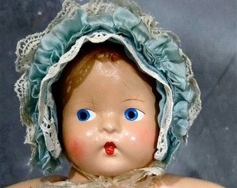 Vintage Doll Bonnet Velvet Cap Hat Lace Tulle Silk Ruffles Doll Accessories Clothing Fashions 1930's