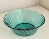 Vintage Swirl Bowl in Ultramarine Teal Glass, Jeannette Depression Glass, circa 1937-1938