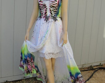 Black, pink, blue, and green skeleton halloween costume undead bride size 3-5 fits small skull day of the dead dia de los muertos