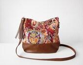 Tribal Print Boho bag, Crossbody bag, Navajo print, Canvas and Leather, Slouchy Messanger bag, Shoulder bag, Tassels, Clutch purse
